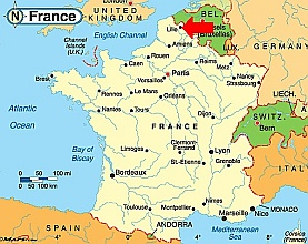 Map of France Lille Travel