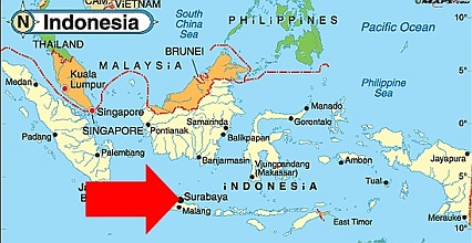 where is surabaya indonesia map